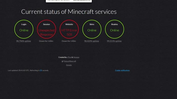 Xpaw Minecraft status page