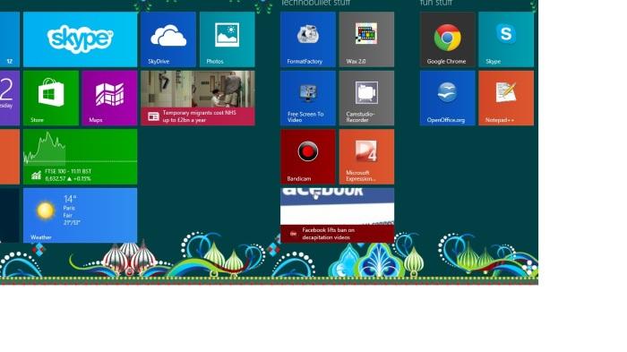 My start-screen in Windows 8.1